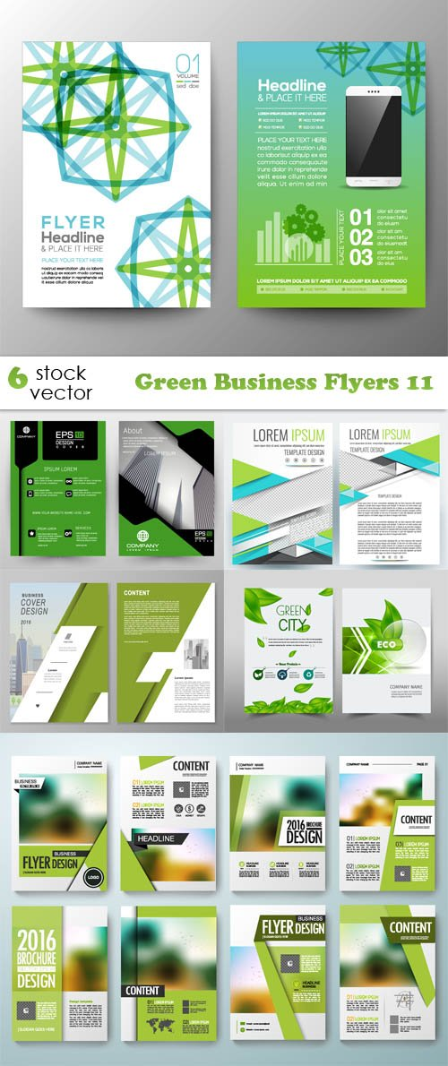 Vectors - Green Business Flyers 11