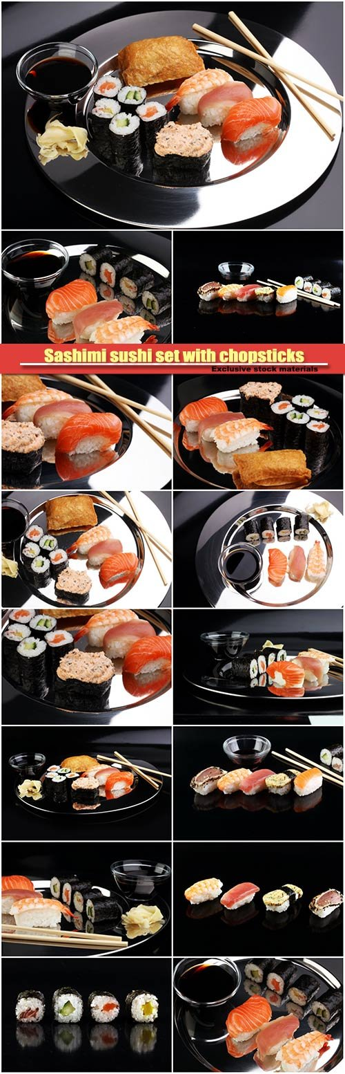 Sashimi sushi set with chopsticks and soy, sushi roll with salmon