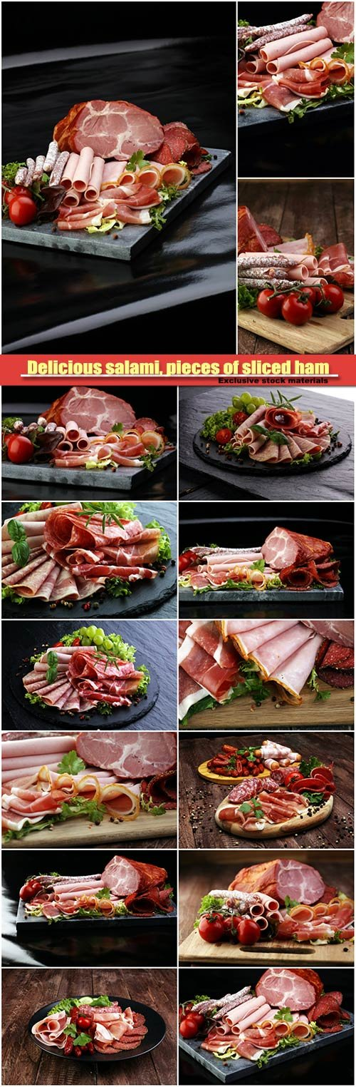Delicious salami, pieces of sliced ham, sausage, tomatoes, salad and vegetable