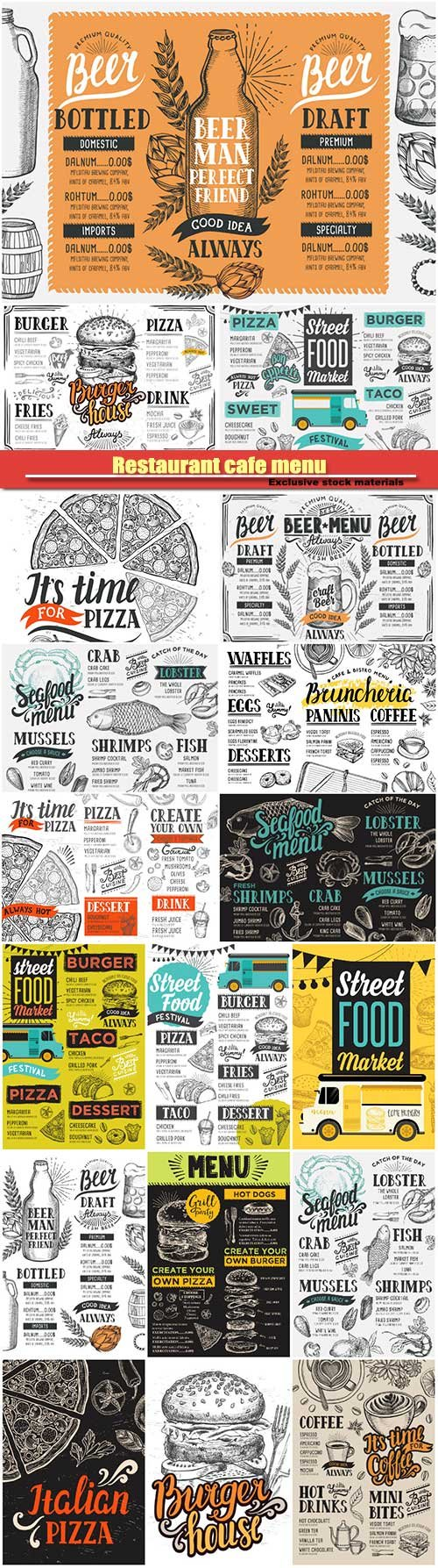 Restaurant cafe menu, vector template design