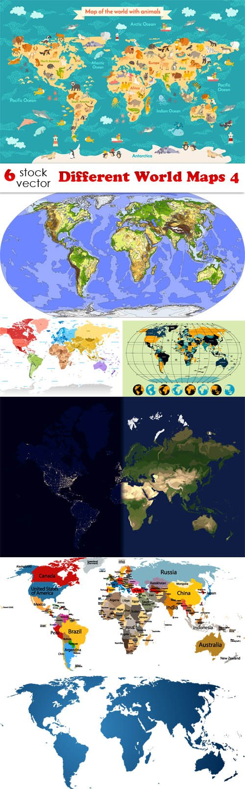 Vectors - Different World Maps 4