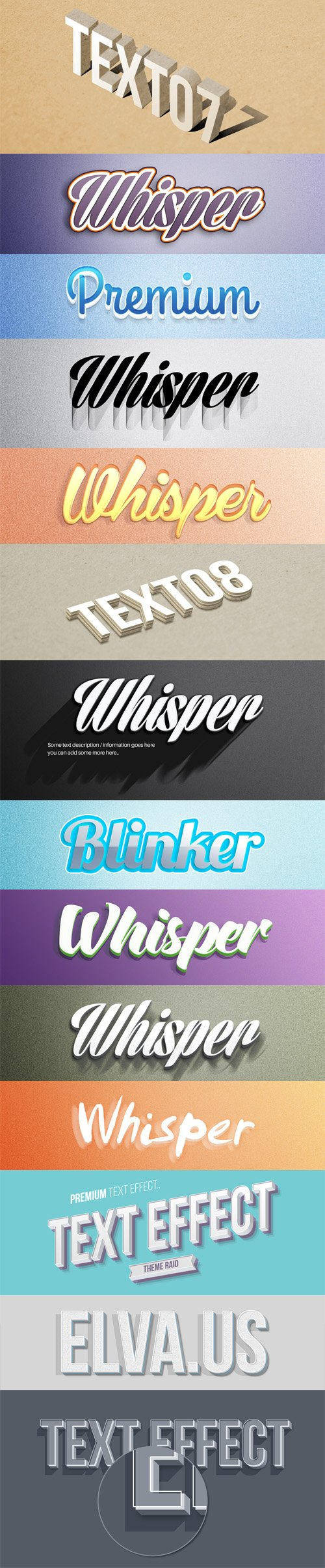 3D Text Effects PSD With Shadows