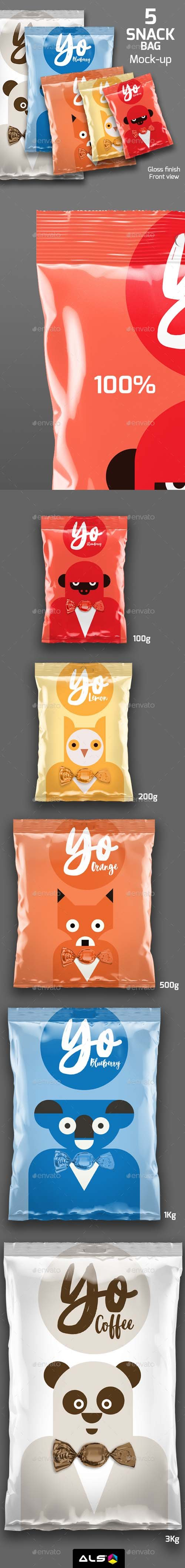 5 Snack Bags Mock-up 19747598