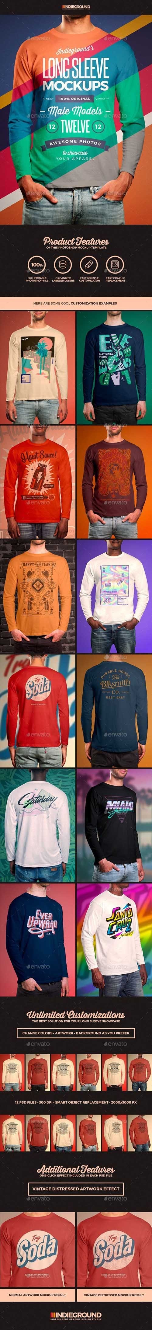 Men Long Sleeve T-Shirt Mockups 19758057