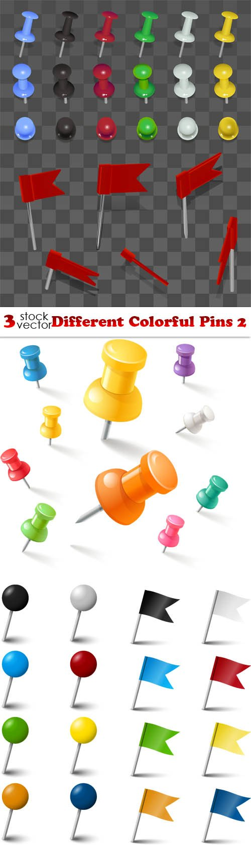 Vectors - Different Colorful Pins 2