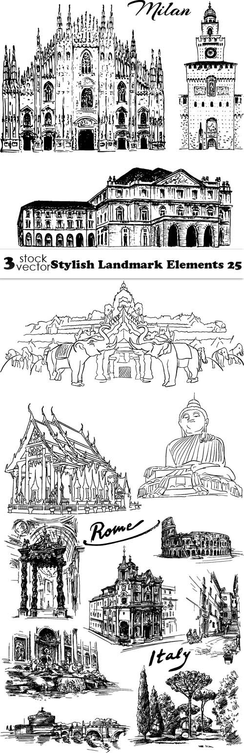 Vectors - Stylish Landmark Elements 25