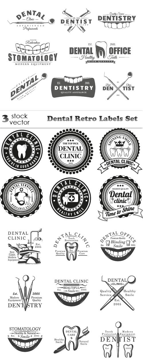 Vectors - Dental Retro Labels Set