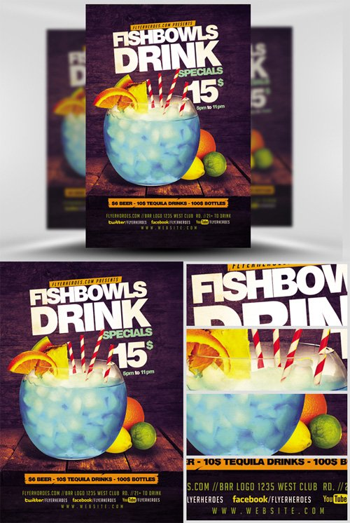 Flyer Template - Fish Bowl and Drink