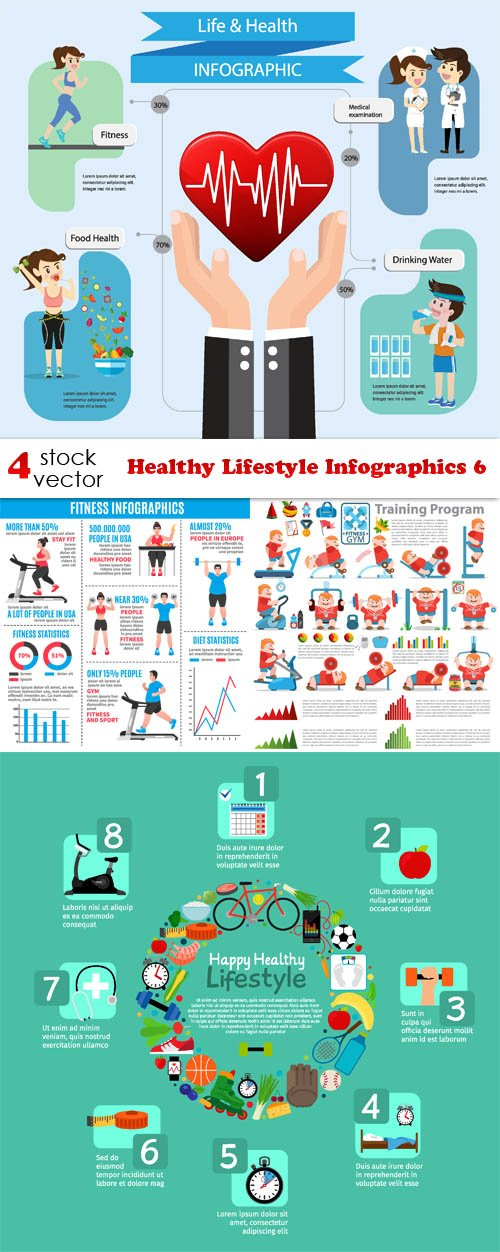 Vectors - Healthy Lifestyle Infographics 6