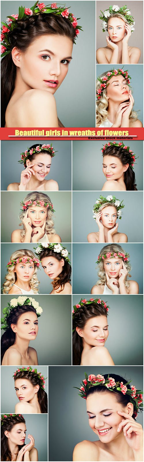 Beautiful girls in wreaths of flowers, skincare and cosmetology concept