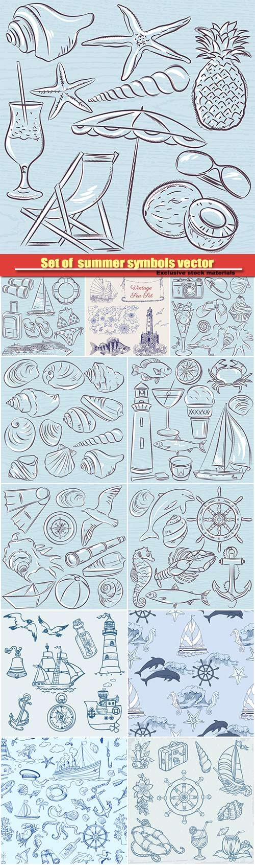 Set of  summer symbols vector illustration, shells, crab, boat, cocktail, lighthouse, ice cream, bucket, fish