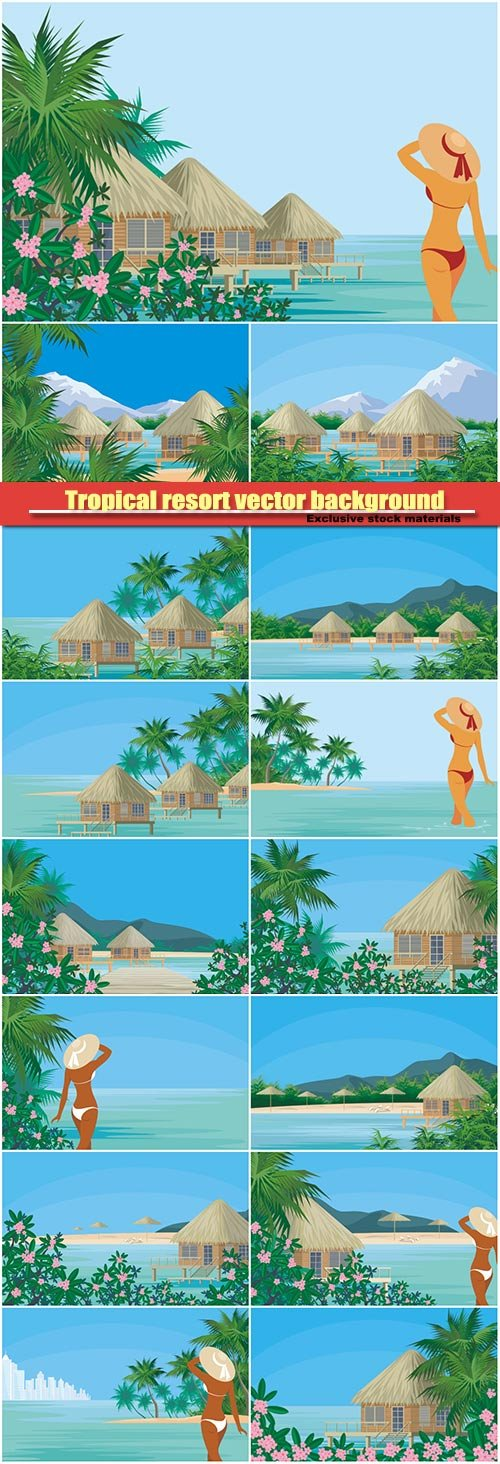 Tropical resort vector background, beautiful lady sunbathes