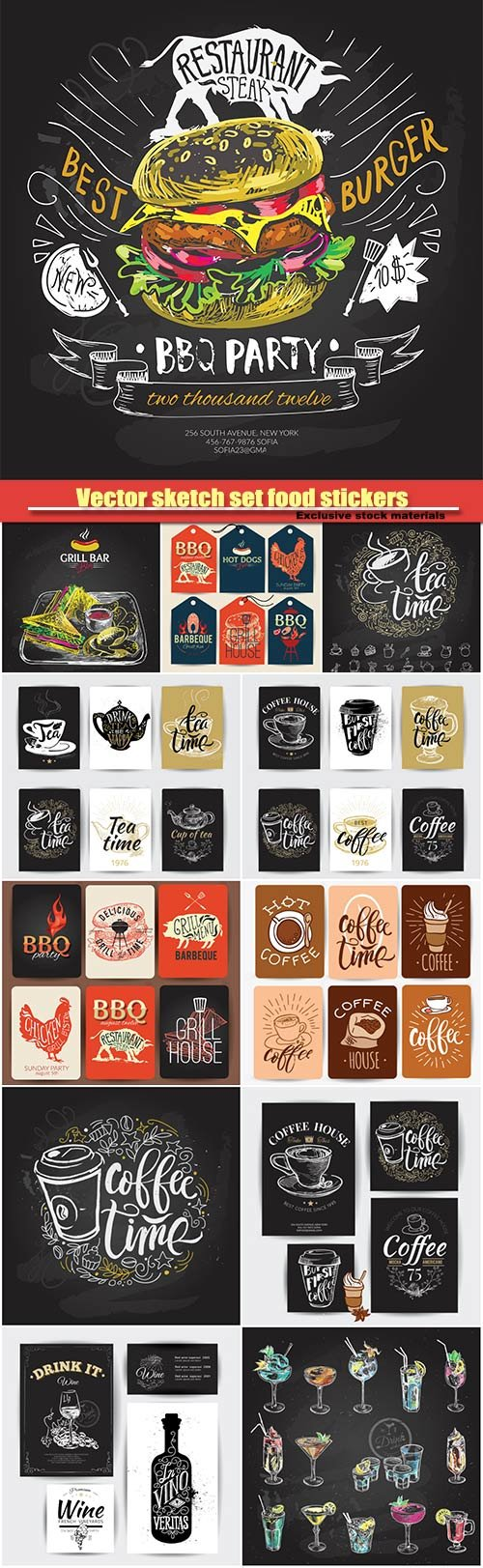 Hand drawn vector sketch set food stickers, alcoholic cocktail, coffee, barbecue label