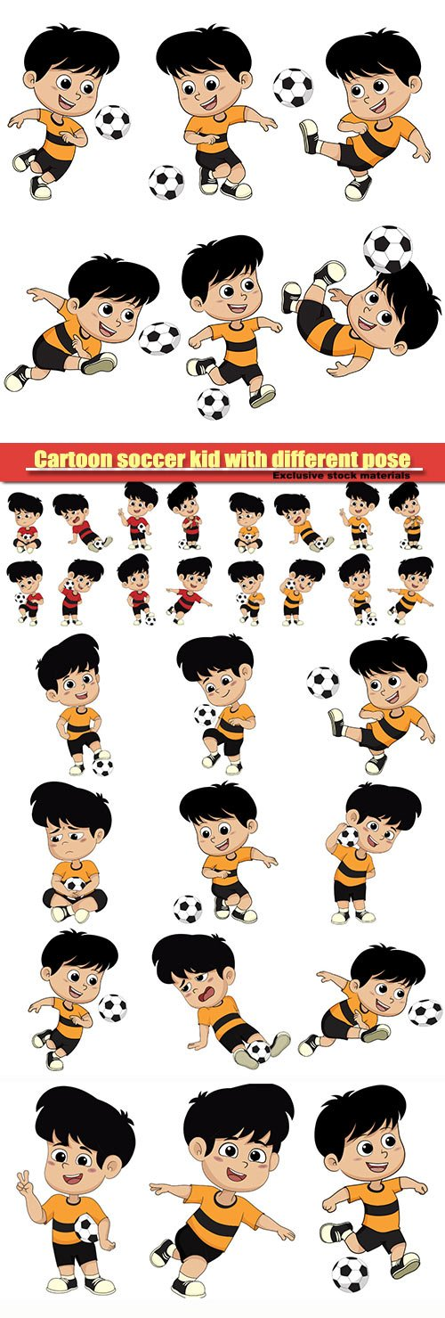 Cartoon soccer kid with different pose