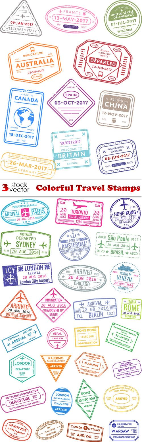 Vectors - Colorful Travel Stamps
