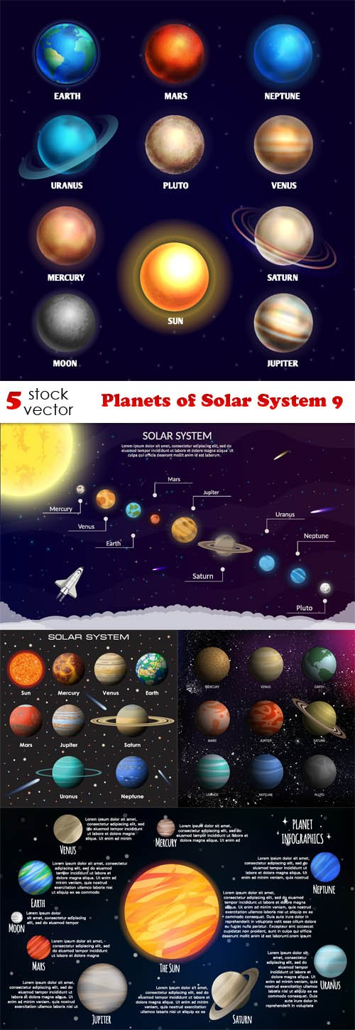 Vectors - Planets of Solar System 9