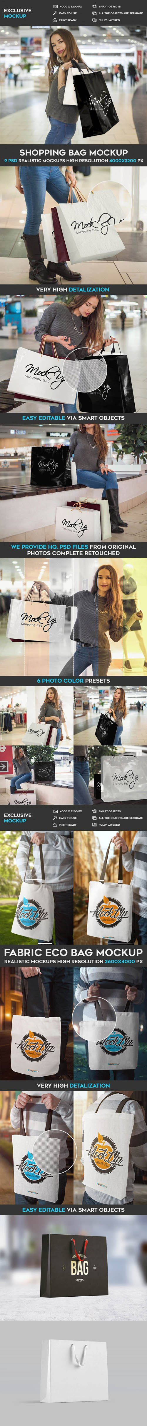 Paper Shopping Bag - 16 Mockups PSD Templates
