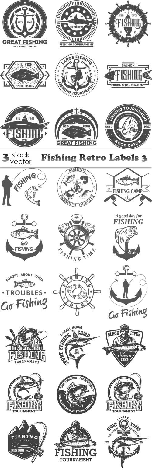Vectors - Fishing Retro Labels 3