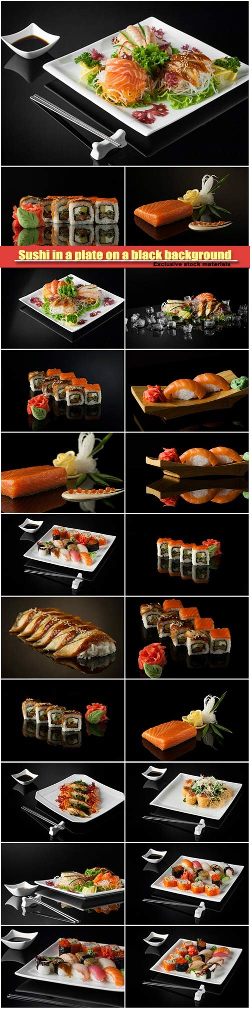 Sushi in a plate on a black background