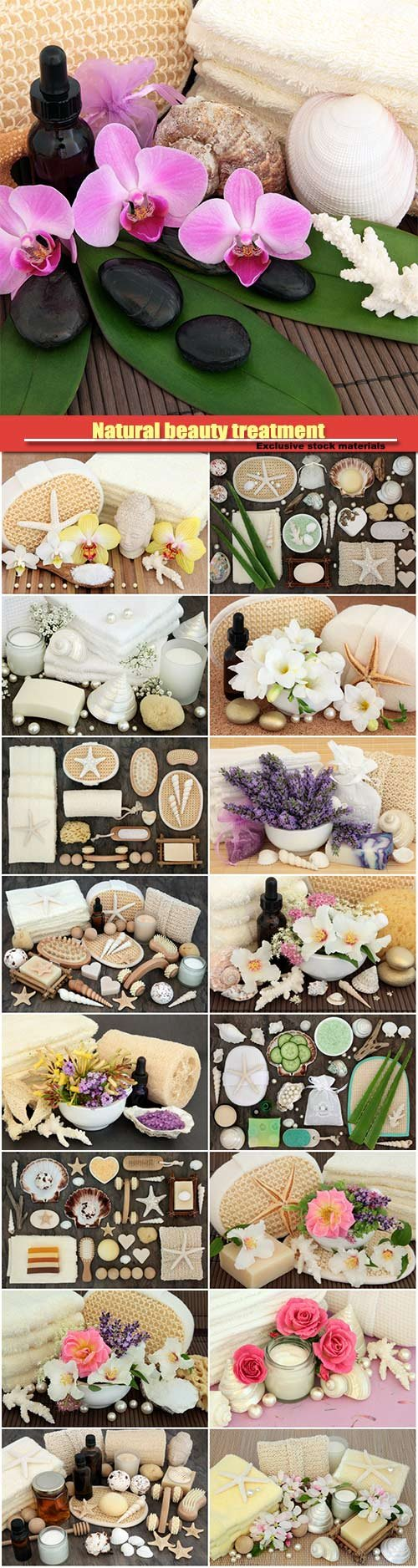 Natural beauty treatment, spa massage accessories, lavender and honeysuckle