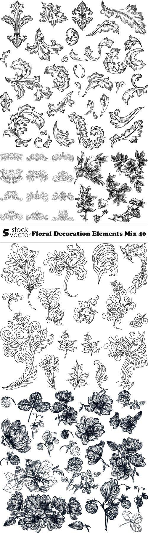 Vectors - Floral Decoration Elements Mix 40