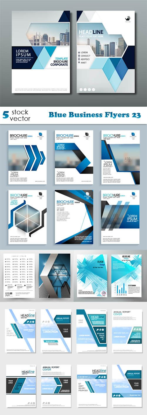 Vectors - Blue Business Flyers 23