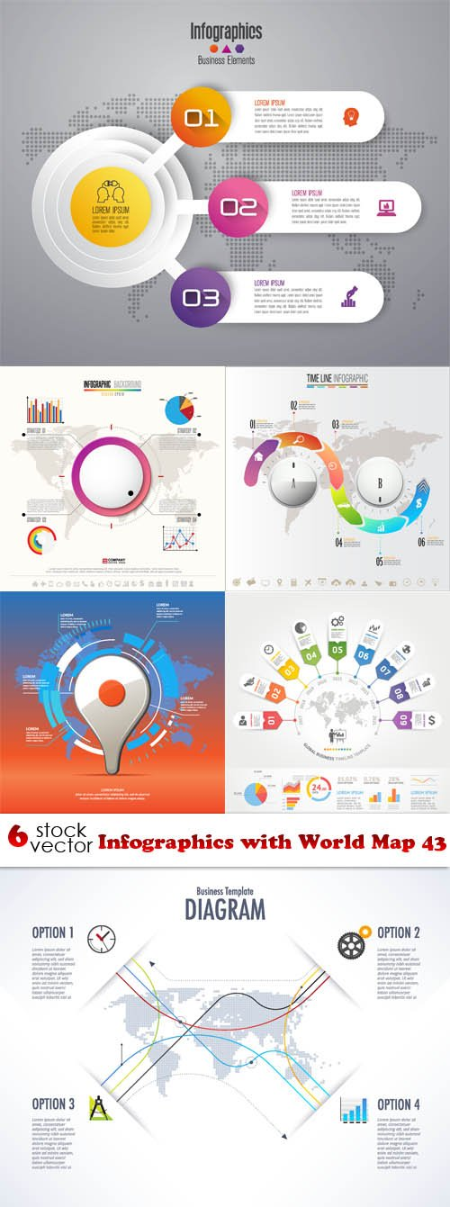 Vectors - Infographics with World Map 43
