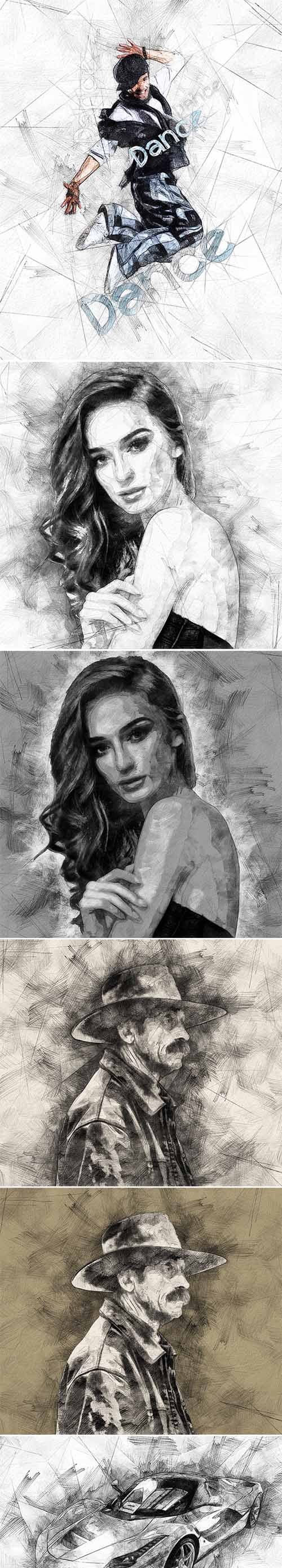 Gr pencil drawing photoshop action 19737502