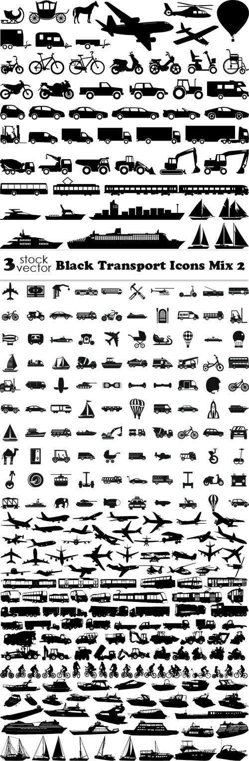 Vectors - Black Transport Icons Mix 2