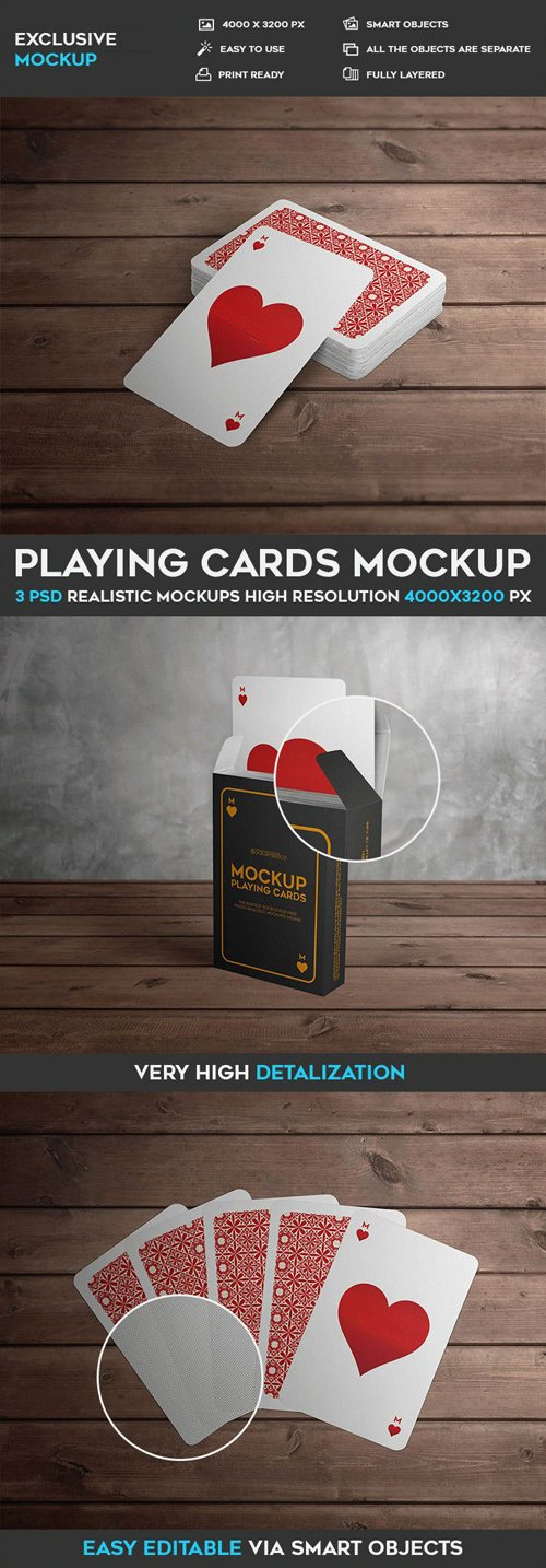 Playing Cards - 3 PSD Mockups