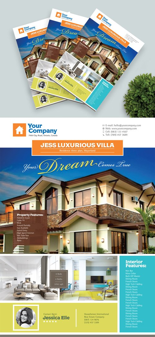 Real Estate Flyer Template Design in Vector