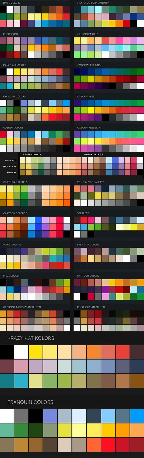 Procreate Color Swatches: 22 Palettes for Painting and Drawing