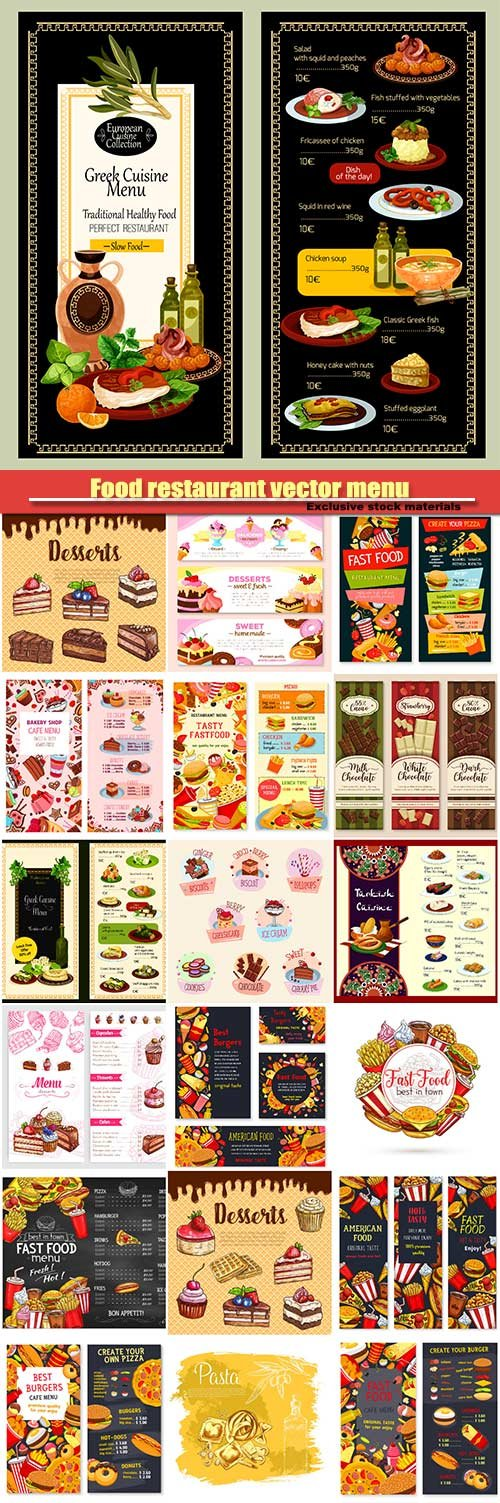 Food restaurant vector menu, drinks, meals, hamburger, pizza, desserts and cakes, chocolate