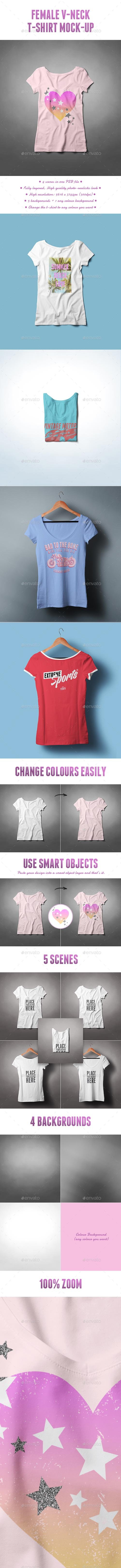 Female V-Neck T-shirt Mock-up 19832612