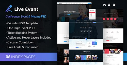 ThemeForest - Live Event v1.0 - Conference, Event & Meetup PSD Template - 19707231