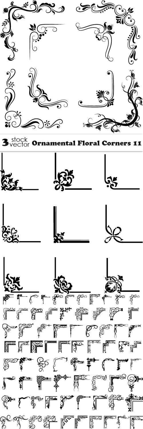 Vectors - Ornamental Floral Corners 11