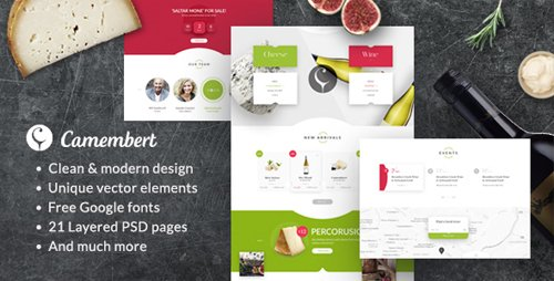 Camembert - Wine Restaurant & Cheese Shop PSD Template 19264865