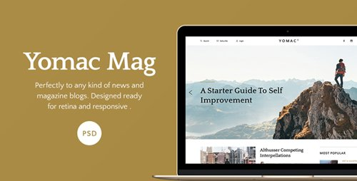 Yomac -Magazine and Blog PSD Template 15696738