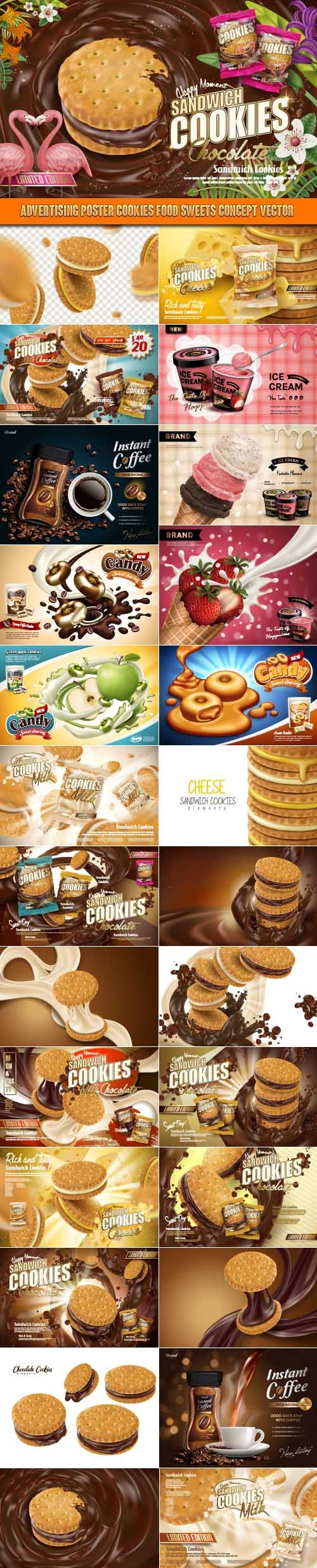 Advertising Poster Cookies food sweets Concept vector