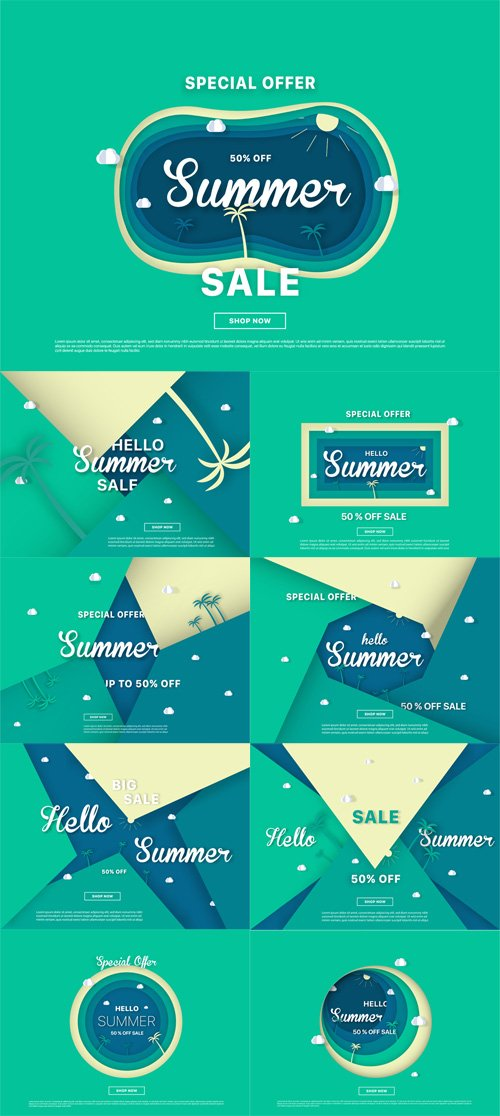 Vector Summer Sale Colorful Backgrounds