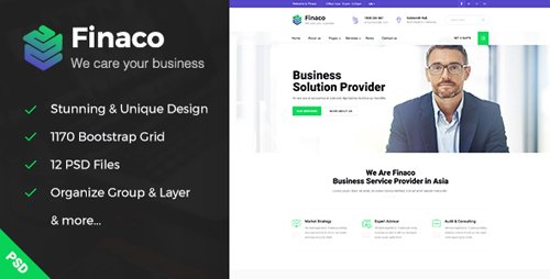 Finaco - Business & Finance PSD Template 19695064