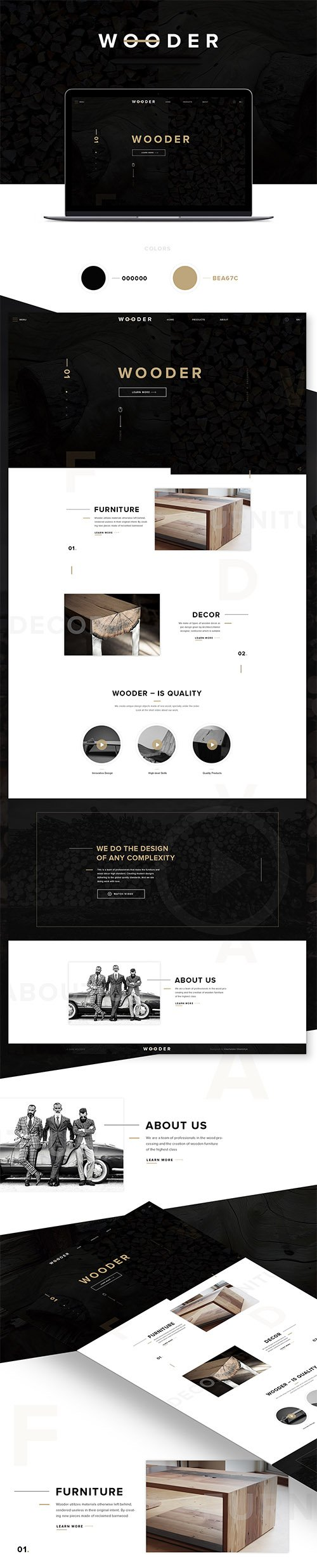 PSD Web Template - WOODER - One Page