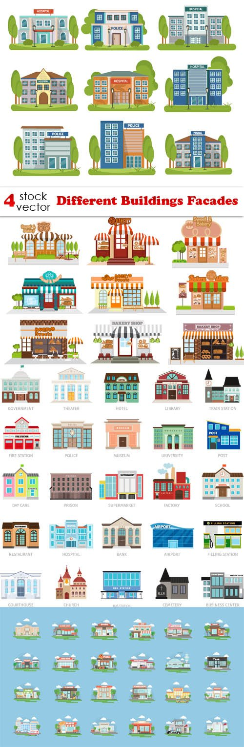 Vectors - Different Buildings Facades