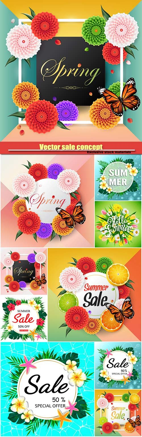 Vector sale concept, summer background with tropical flowers