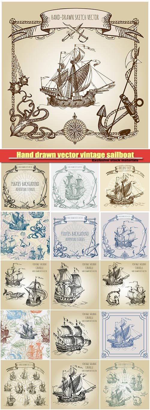Hand drawn vector vintage sailboat, old geographical maps of sea
