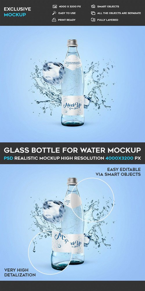 Glass Bottle for Water - PSD Mockup Template