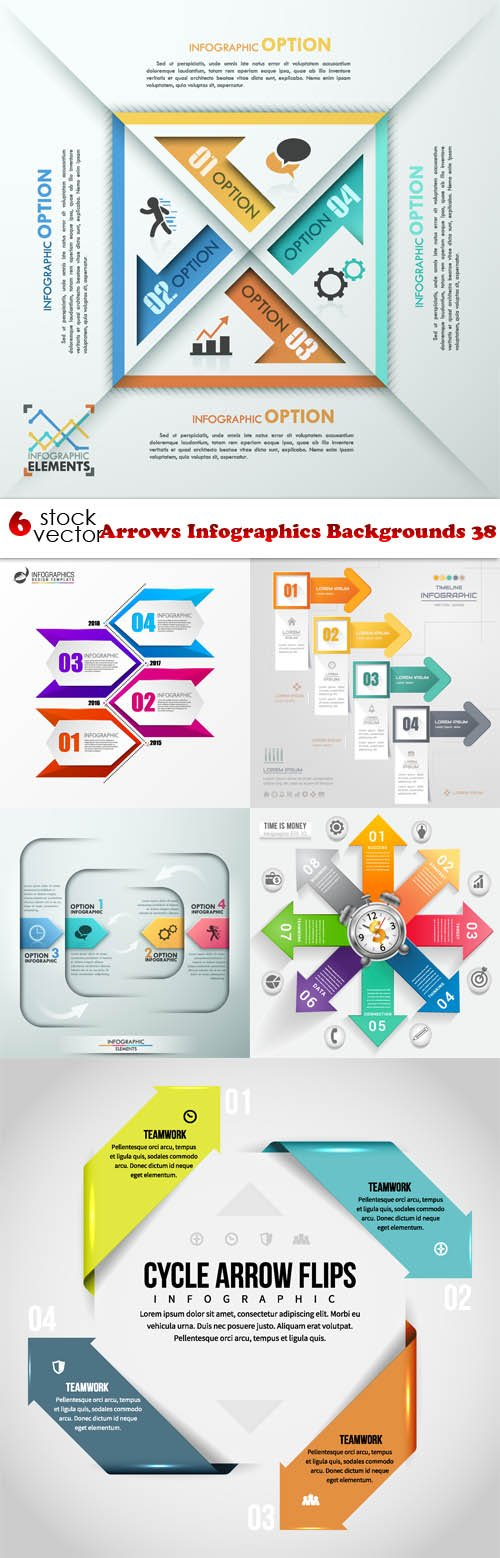 Vectors - Arrows Infographics Backgrounds 38