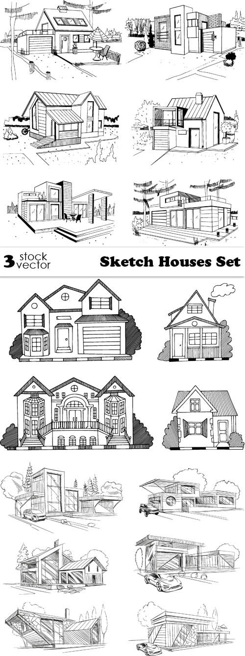 Vectors - Sketch Houses Set