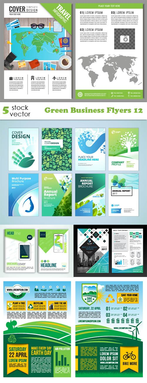 Vectors - Green Business Flyers 12