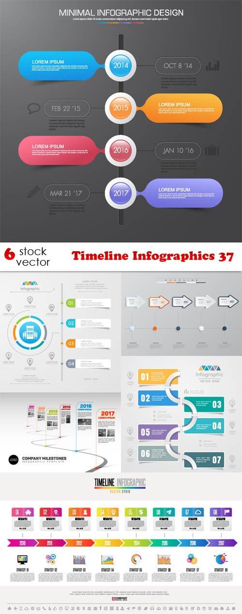 Vectors - Timeline Infographics 37